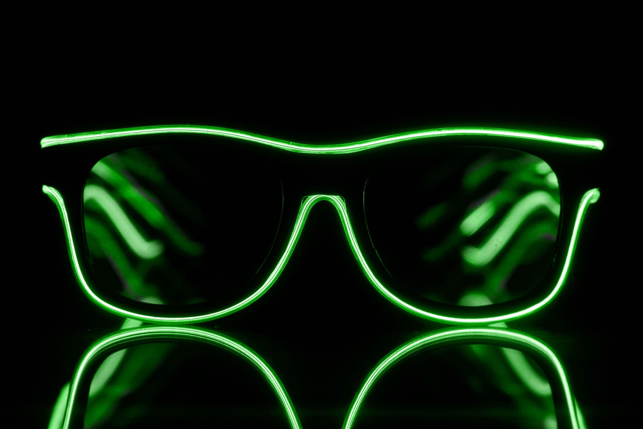 Lime Light Up El Wire Diffraction Glasses