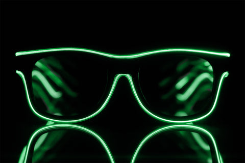 Green Light Up El Wire Diffraction Glasses