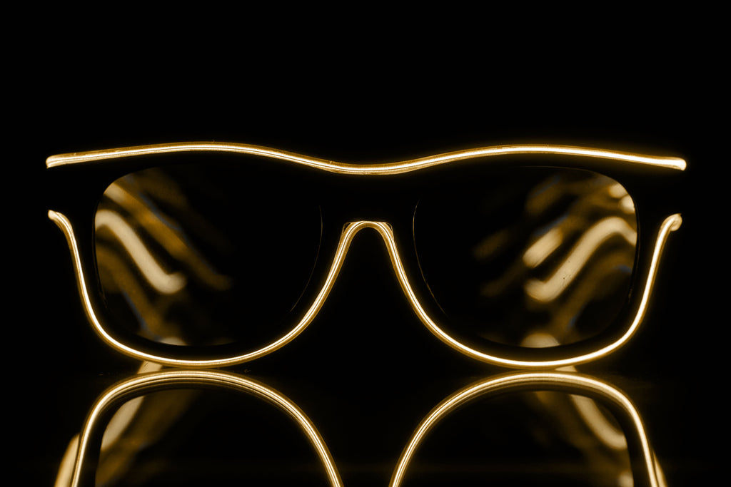 Orange Light Up El Wire Diffraction Glasses - SuperFried
