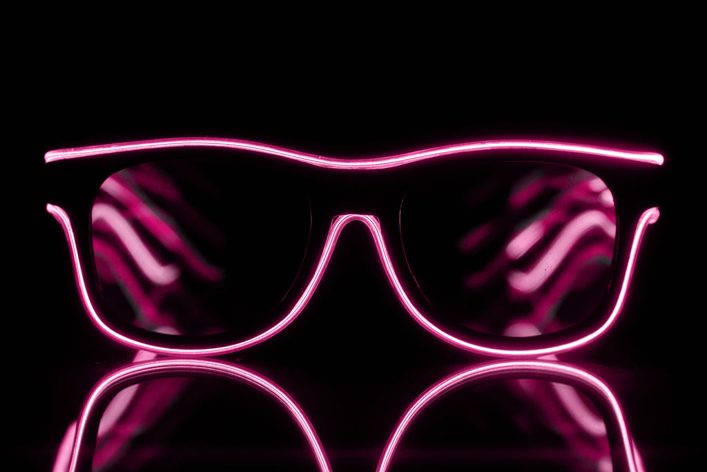 Pink Light Up El Wire Diffraction Glasses