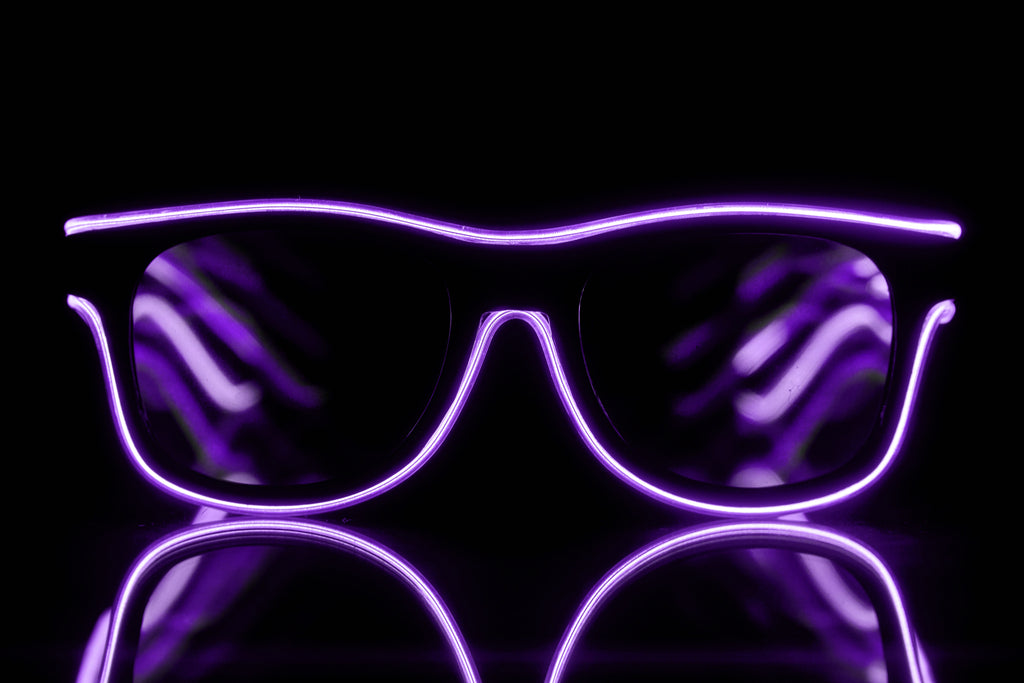 Purple Light Up El Wire Diffraction Glasses - SuperFried