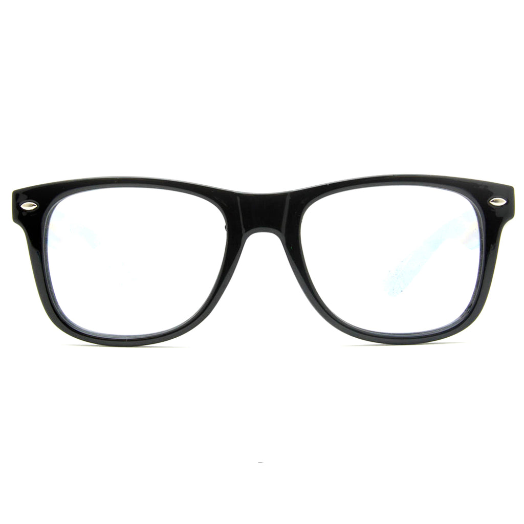 SuperFried Black Clear Spiral Diffraction Glasses