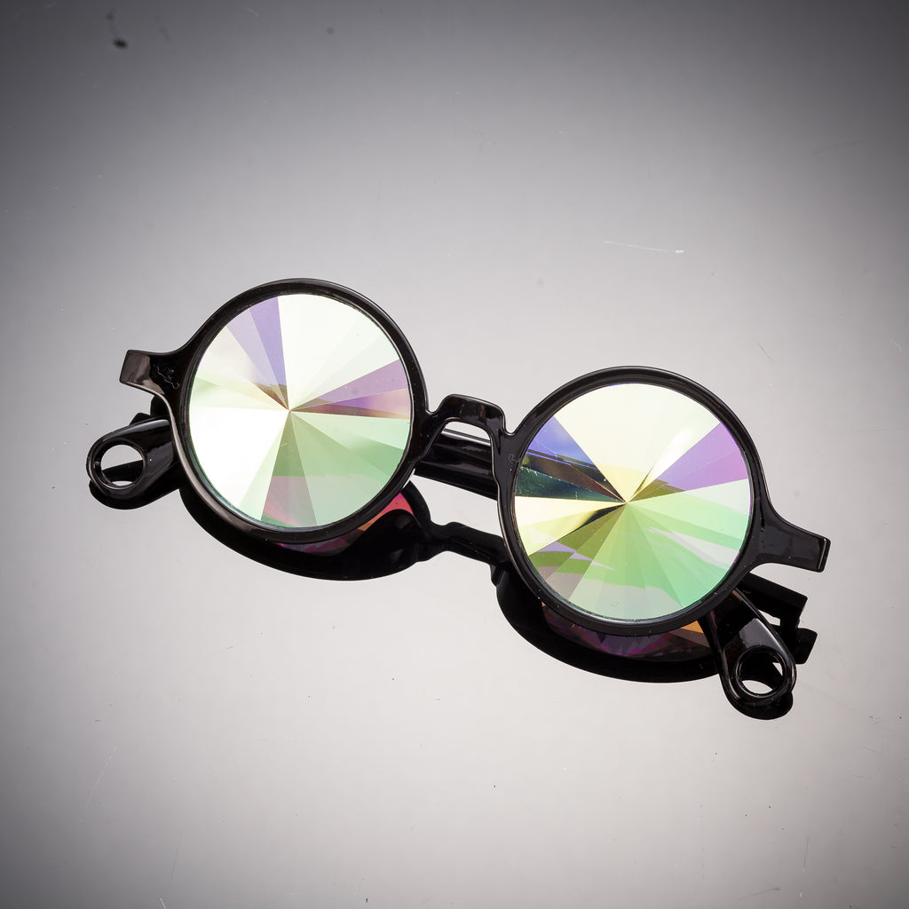 Intense Diamond Kaleidoscope Effect rainbow crystal lens Sunglasses Women Men Party Festival Round Pinhole Glasses at SuperFried's Festival Accessories and Sunglasses Online store