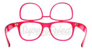 Double Diffraction - Double Transparent Red Firework Wayfarer Diffraction Glasses