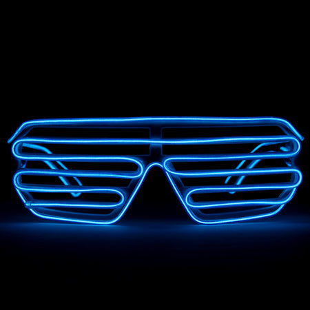 EL Wire Glasses - Blue Light Up El Wire Shutter Glasses