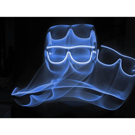 Blue Light Up El Wire Diffraction Glasses | SuperFried