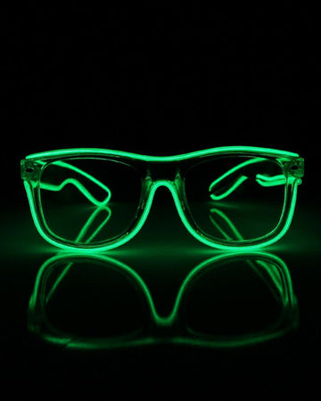 EL Wire Glasses - Green Clear Lens Light Up El Wire Glasses
