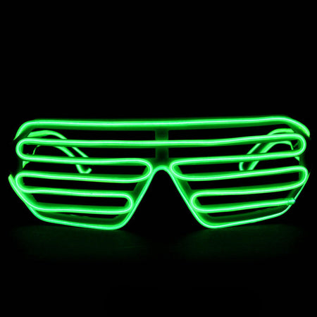 Green Light Up El Wire Shutter Glasses - SuperFried