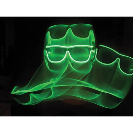 Green Light Up El Wire Diffraction Glasses - SuperFried