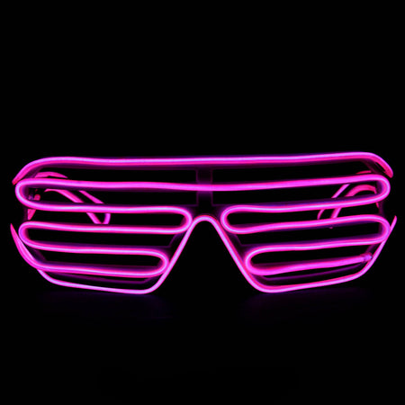 EL Wire Glasses - Pink Light Up El Wire Shutter Glasses