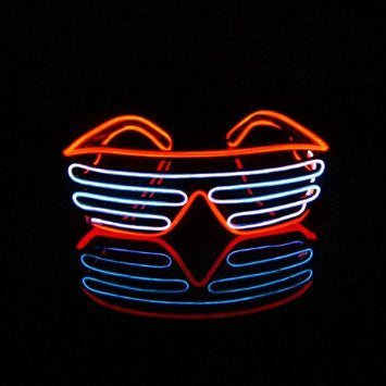 EL Wire Glasses - Red/Sky Blue Light Up El Wire Shutter Glasses