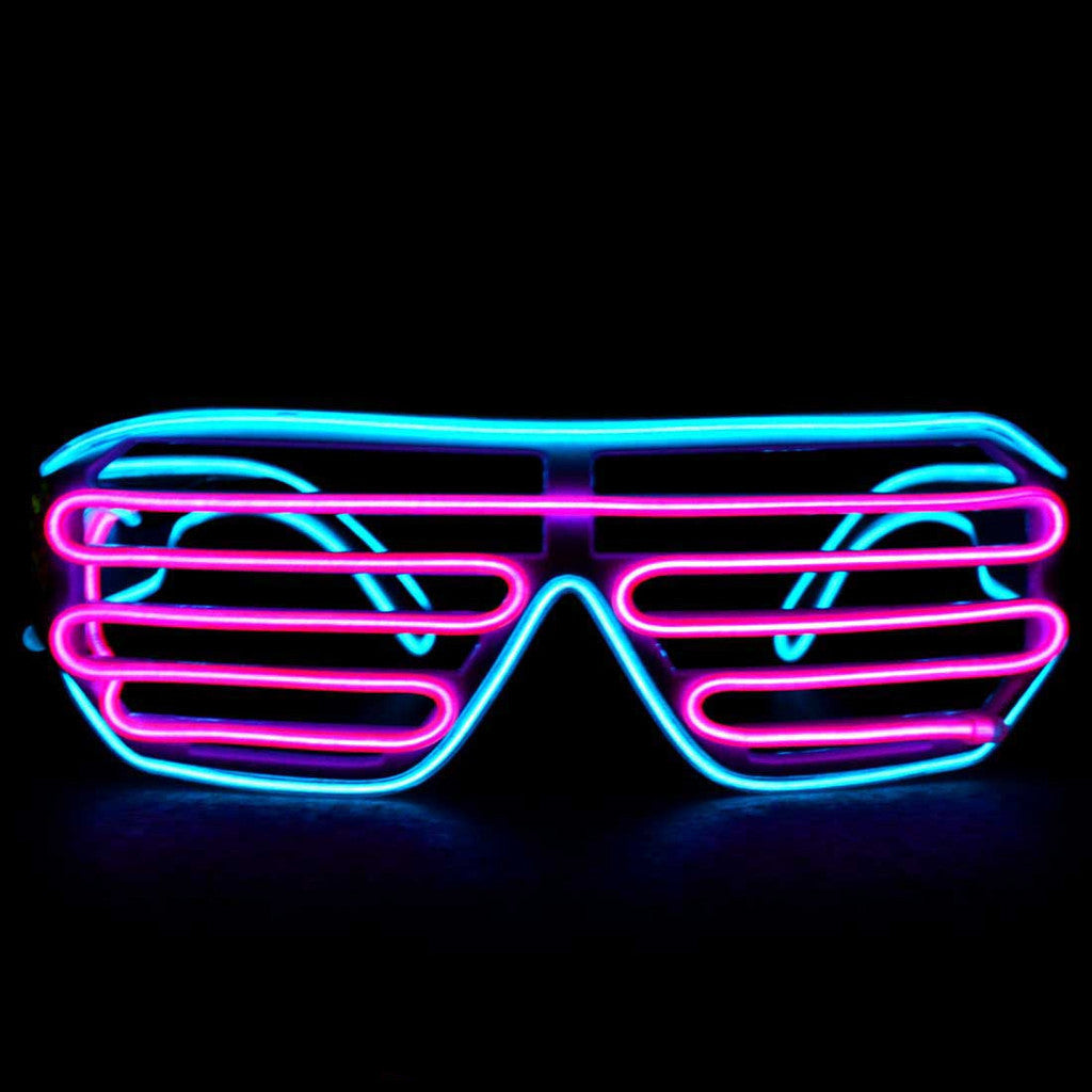 Neon Blue/Pink Light Up El Wire Shutter Glasses - SuperFried