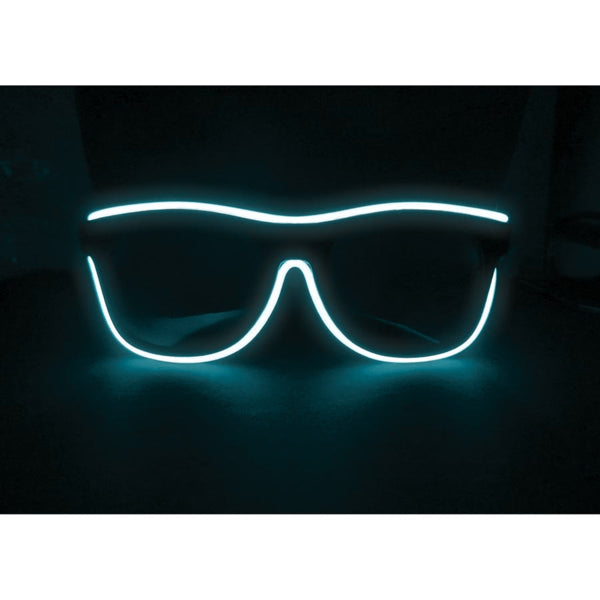 Neon Blue Light Up El Wire Sunglasses - SuperFried