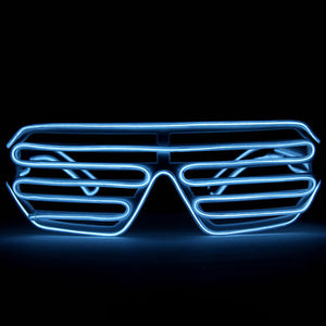 EL Wire Glasses - White Light Up El Wire Shutter Glasses