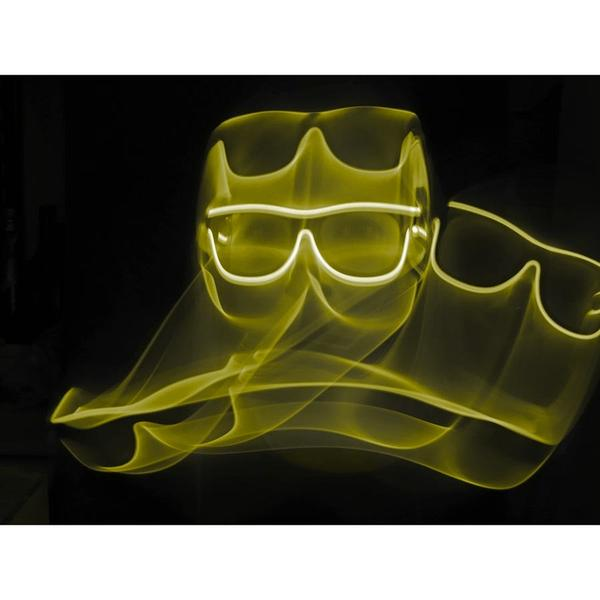 Yellow Light Up El Wire Diffraction Glasses