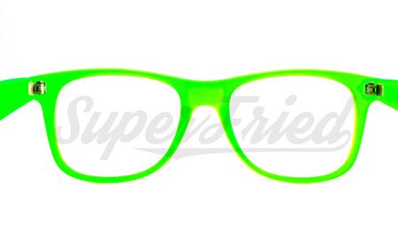Glow In The Dark - Glow Green Clear Firework Wayfarer Diffraction Glasses