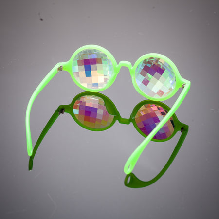 glow green bug eye kaleidoscope glasses intense visuals psychedelics rave party eyewear prism