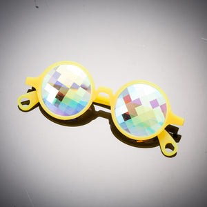 Glow Yellow Bug Eye Kaleidoscope Glasses