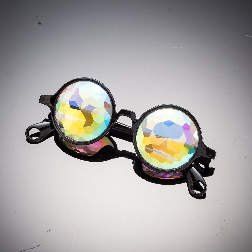 Intense Diamond Kaleidoscope Effect rainbow crystal lens Round Sunglasses Women Men Party Festival  Glasses at SuperFried's Festival Accesories and Sunglasses Online store