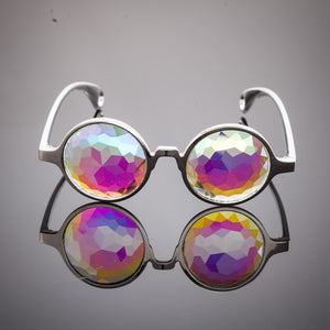silver rainbow kaleidoscope glasses prism intense psychedelic visuals
