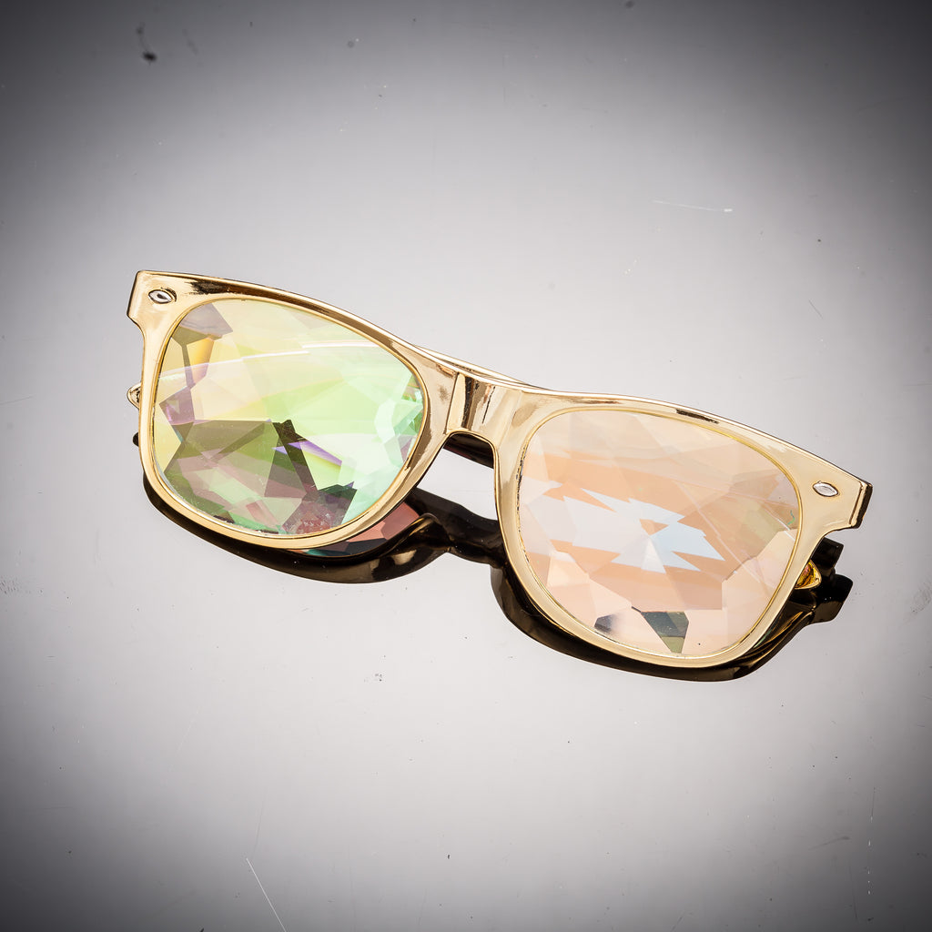 Gold Helvetica Kaleidoscope Glasses - SuperFried