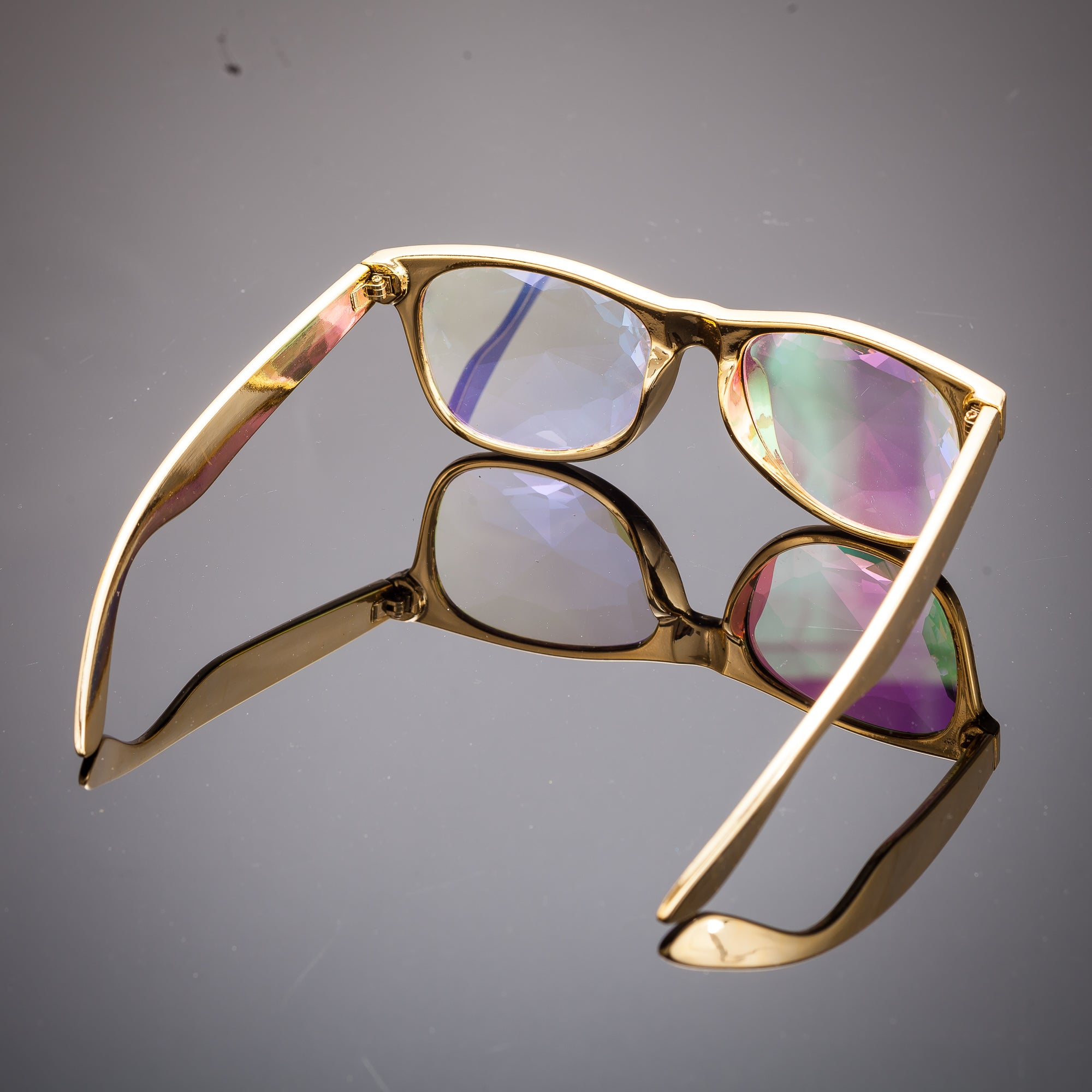 Intense Diamond Kaleidoscope Effect rainbow crystal lens Sunglasses Women Men Party Festival Ghetto Bling Gold Glasses at SuperFried's Festival Accessories and Sunglasses Online store