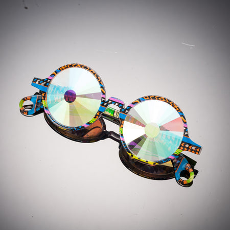 Intense Diamond Kaleidoscope Effect rainbow crystal lens Sunglasses Women Men Party Festival Tribal Round Glasses at SuperFried's Festival Accessories and Sunglasses Online store