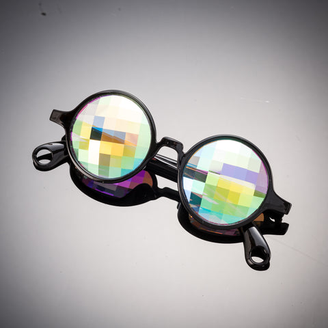 black bug eye kaleidoscope glasses intense visuals effects eyewear