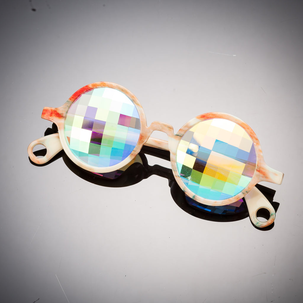 Intense Diamond Kaleidoscope Effect rainbow crystal lens Sunglasses Women Men Party Festival Bug Eye Portal Orange Marble Round Glasses at SuperFried's Festival Accessories and Sunglasses Online store