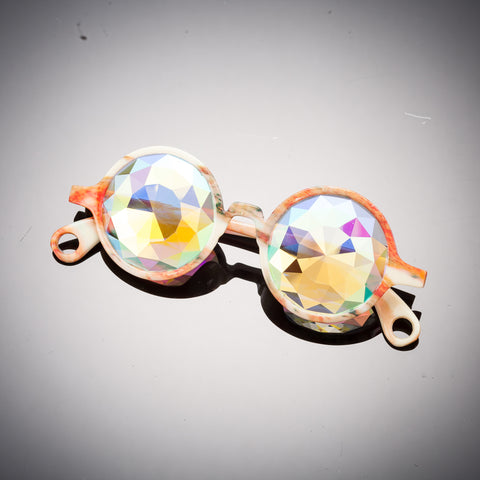 Orange Marble Diamond Kaleidoscope Glasses