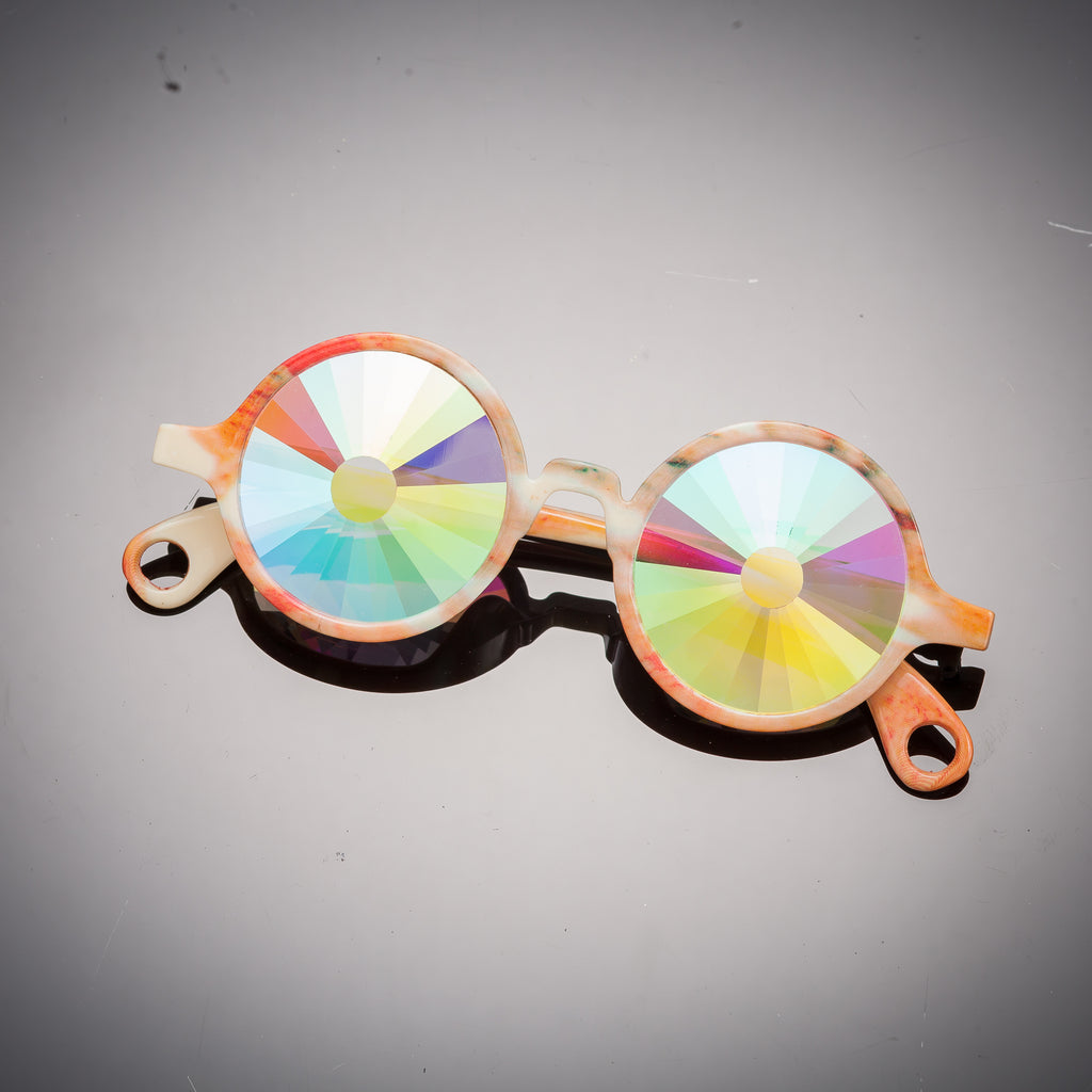 Intense Diamond Kaleidoscope Effect rainbow crystal lens Sunglasses Women Men Party Festival Marble Bug Eye Portal Bamboo Round Glasses at SuperFried's Festival Accessories and Sunglasses Online store