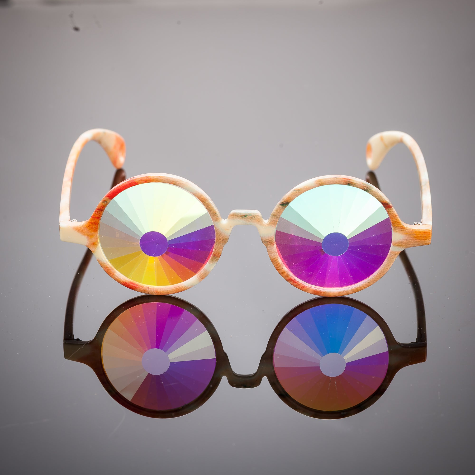 Orange Marble Portal Kaleidoscope Glasses - SuperFried