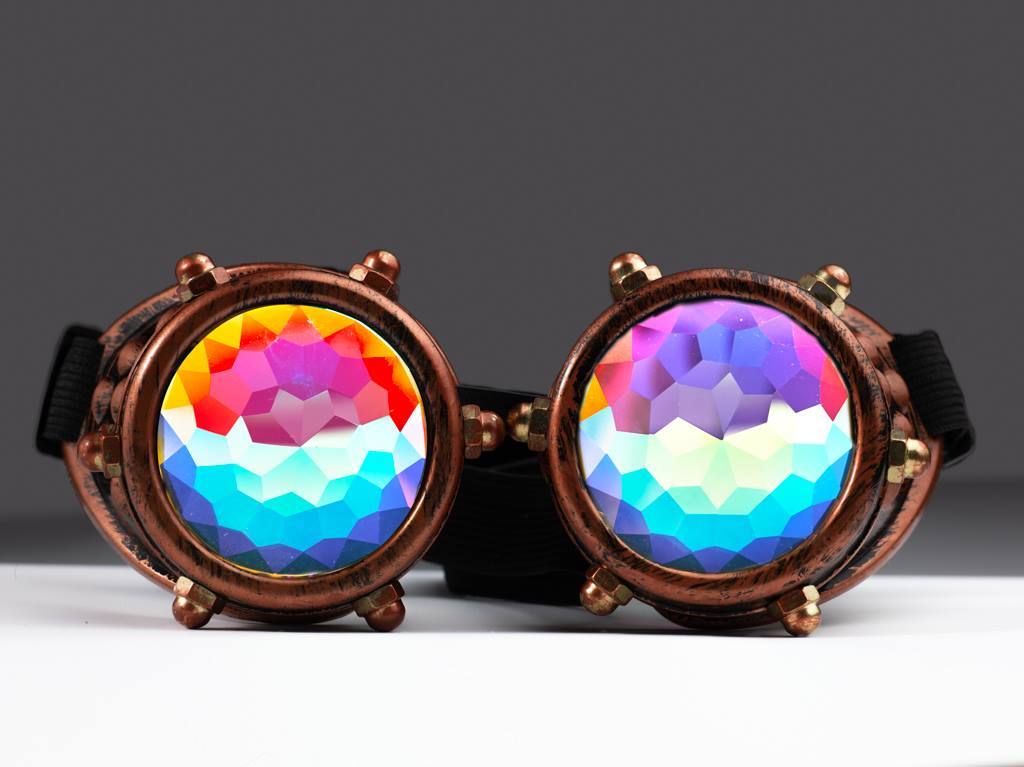 Copper Bolt Kaleidoscope Goggles - SuperFried