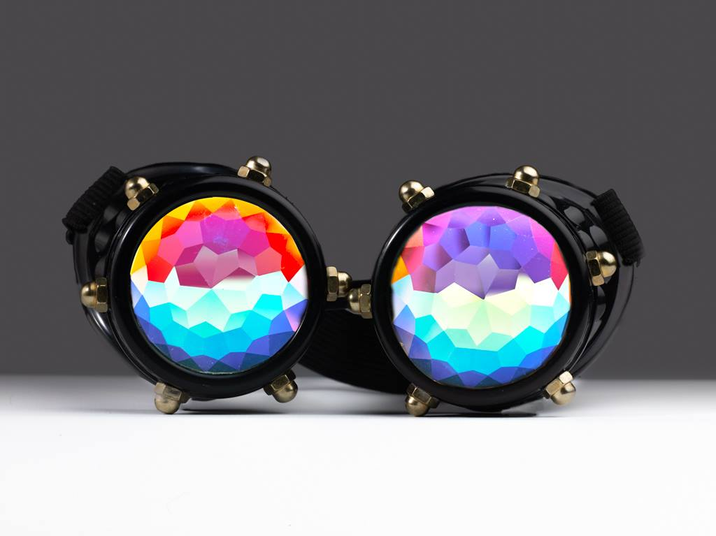Black Bolt Kaleidoscope Goggles - SuperFried