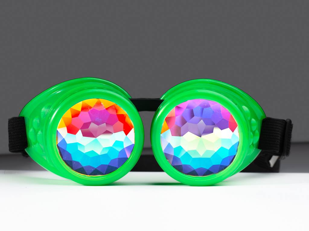 Green Kaleidoscope Goggles - SuperFried