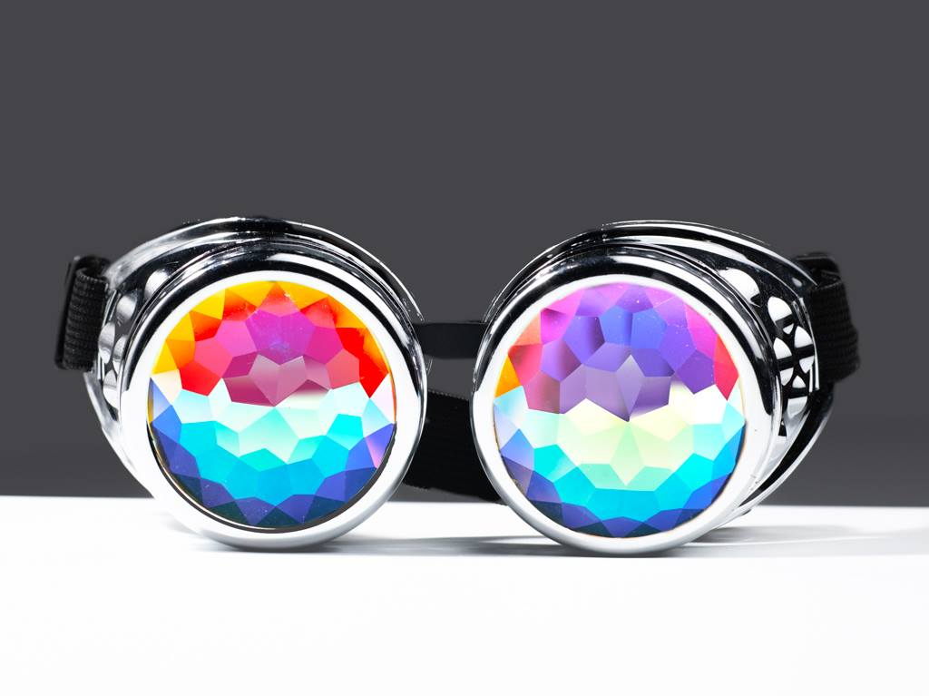 Intense Chrome Diamond Kaleidoscope Effect rainbow crystal lens Sunglasses Goggles Women Men Party Festival  Glasses Goggles at SuperFried's Festival Accessories and Sunglasses Online store