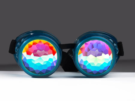 Glow Blue Kaleidoscope Goggles - SuperFried