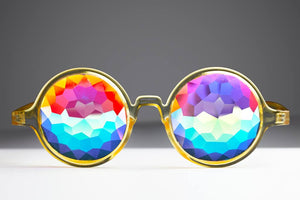Intense Diamond Kaleidoscope Effect rainbow crystal lens Sunglasses Women Men Party Festival Transparent Bug Eye Portal Glow Green Round Glasses at SuperFried's Festival Accessories and Sunglasses Online store