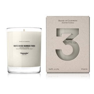Baxter of California White Wood Candle Number 3