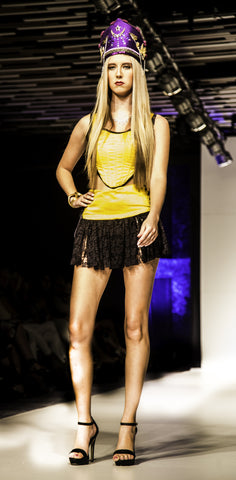 lioness and her unicorns byron bay fashion show yellow corset