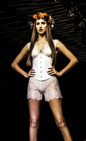 white corset ethel necklace byron bay fashion show