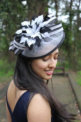 Audrey-Pzella-Accessories- black and white fascinator