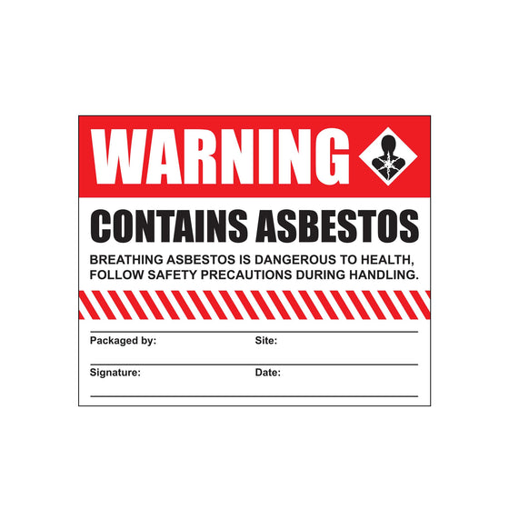 Asbestos Warning Stickers - 100 pack
