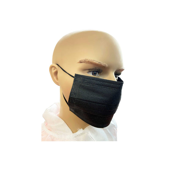 Black Surgical Face Mask, 3 Ply Disposable (Pack of 50 Masks)