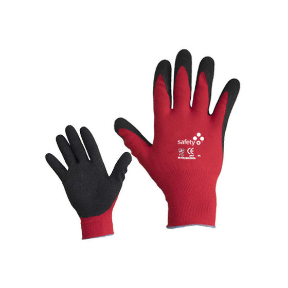Red Crinkle Palm Coated Glove Safety