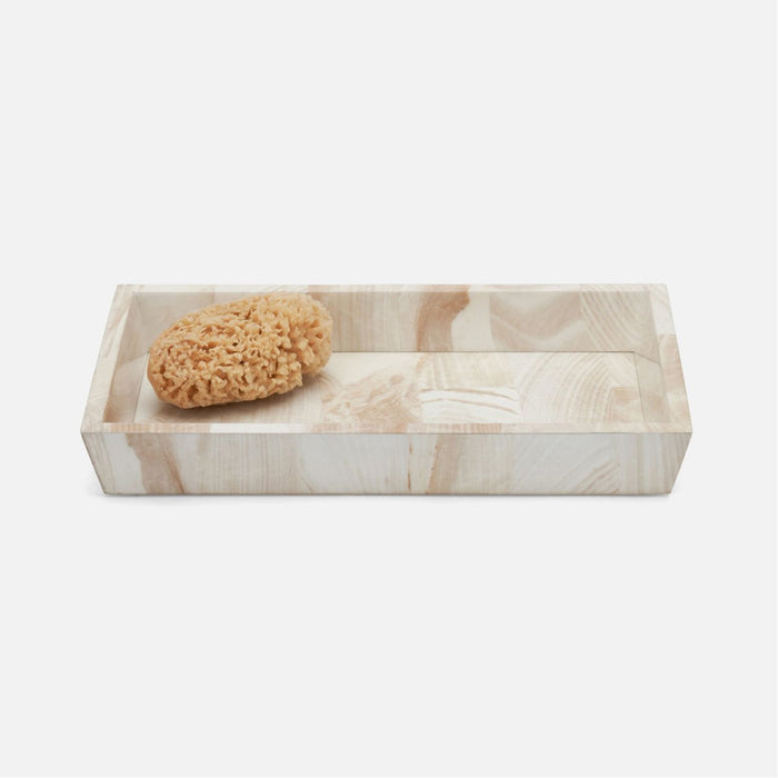 Pigeon and Poodle Palermo II Rectangular Tapered Tray, Faux Clamstone