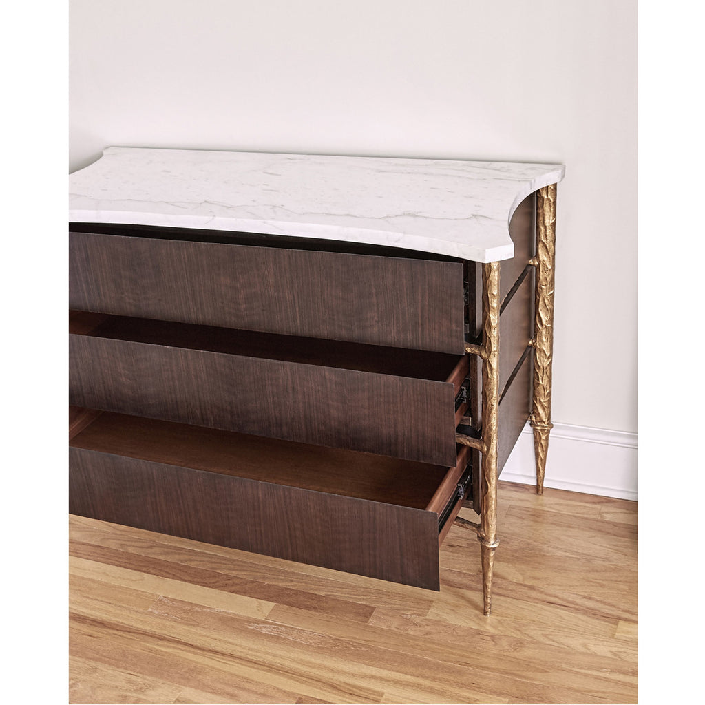 Ambella Home Chiseled Chest - Walnut / Gold