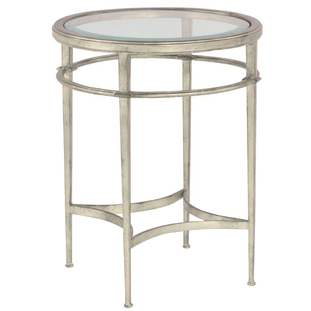 Woodbridge Furniture Glass Top Madeline Round Side Table