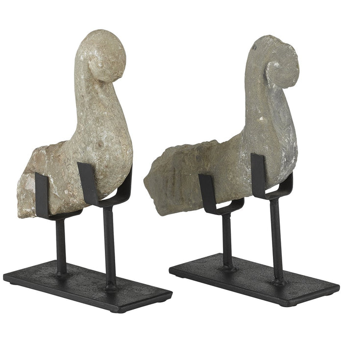Currey and Company Magpie Stone Bird, Set of 2