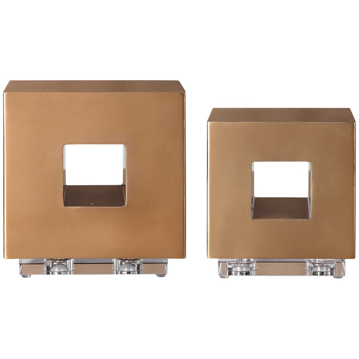 Uttermost Rooney Brass Cubes, 2-Piece Set